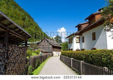 Hallstatt Village With Historic Mountain Houses