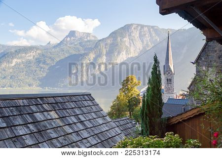 Hallstatt Village With Mountain Houses And Church