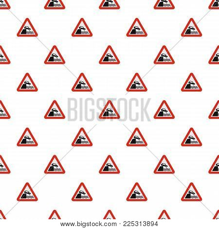 Car on a precipice over water pattern seamless in flat style for any design