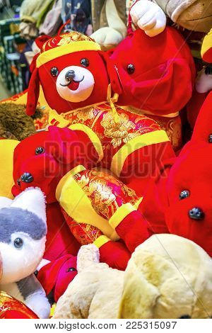 Beijing, China - November 20, 2017 Dogs And More Dogs.  Red Multicolor Dogs Chinese Lunar New Year D