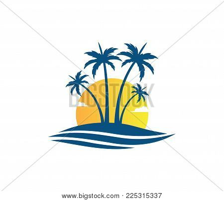 Hotel Tourism Holiday Summer Beach Coconut Palm Tree Vector Logo Design