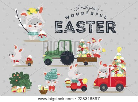 Set of Easter bunny drive car with truck, decorated eggs hunter holding full basket, cute white rabbit auto driver hunting, happy holiday vector greeting card, spring hare isolated illustration.