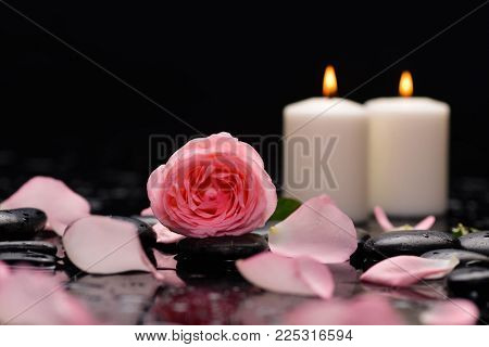 Two candle , pink rose ,petals and therapy stones