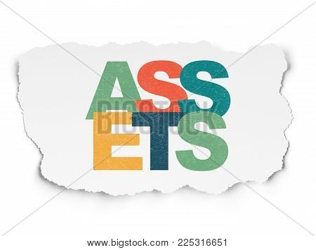Currency concept: Painted multicolor text Assets on Torn Paper background