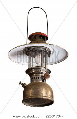 Hanging storm lantern isolated on white background with clipping path