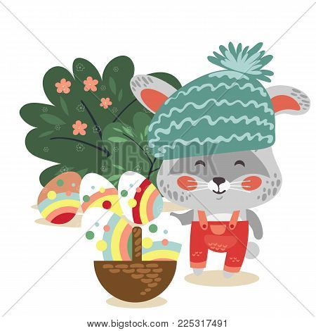 Easter baby bunny in hat and overalls holding big basket full of decorated egg, isolated whire rabbit with ears hunting eggs, vector illustration card.