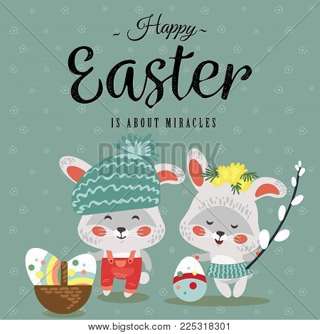Easter baby bunny in wreath of dandelions holding big decorated egg and willow branch, isolated whire rabbit with ears hunting eggs, basket vector illustration card.