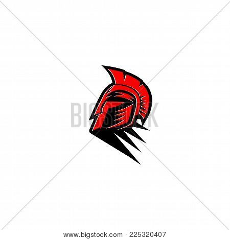 Red and black Spartan warrior helmet on white background vector illustration design.