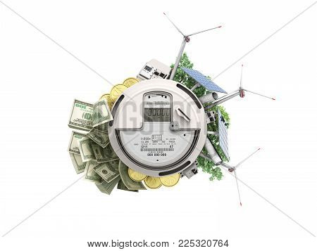 concept of energy saving the meter of electricity with solar panels and a windmill  money dollar bills 3d render on white no shadow