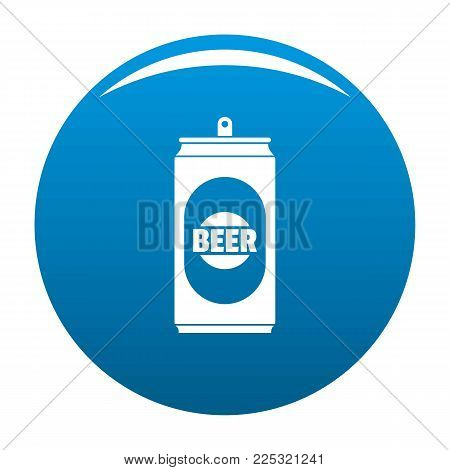 Beer can icon vector blue circle isolated on white background