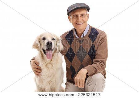 Senior with a labrador retriever dog isolated on white background