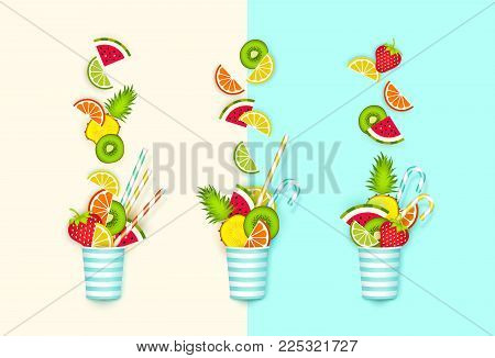 Cocktail of fruit falling in a glass, 3d, Pastel. Creative abstract background with place for advertising text, paper cut style. Minimalist summer food concept. Vector illustration