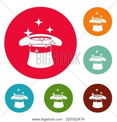 Hat with a star icons circle set vector isolated on white background