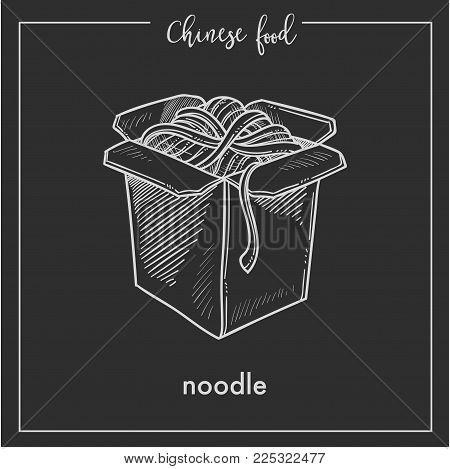 Chinese food noodles box sketch icon for China cuisine menu. Vector Asian restaurant noodles fast food in box isolated on black background for Chinese restaurant premium design or recipe template