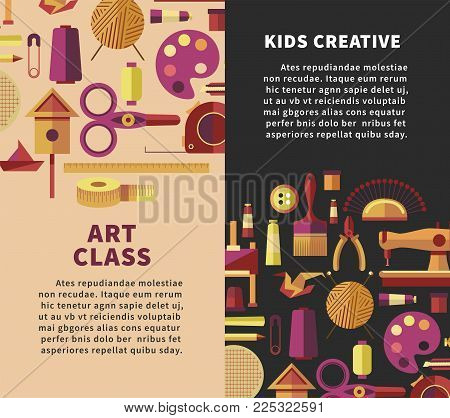 Art classes and kids creative handicraft workshop poster for DIY hobby projects Vector flat design of handmade craft arts for for painting, knitting or tailoring and sewing or woodwork studio lab