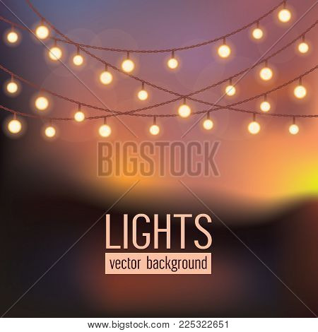 On Abstract Evening Sky Background.set Of Glowing String Lights On Abstract Evening Sky Background.