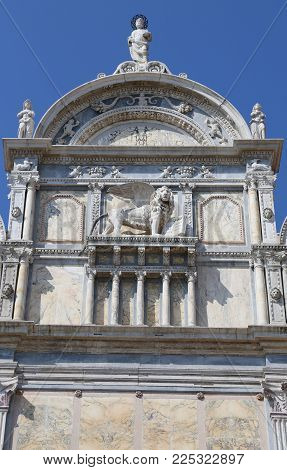 great winged lion of the ancient building in Venice called Scuola Grande di San Marco in the Italian language