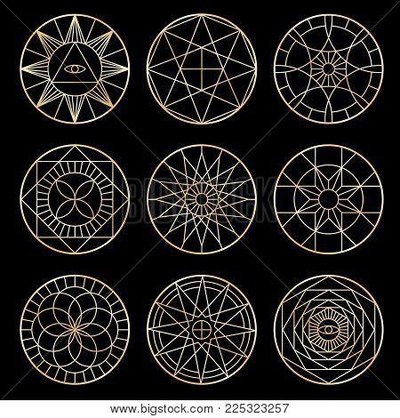 Esoteric geometric pentagrams. Spiritual sacred mystical vector symbols. Esoteric pentagram sacred geometric ine style illustration