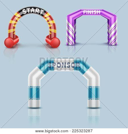 Inflatable race start and finish archway, outdoor sports event arch decoration and sponsor banner. Start arch for run or race. Vector illustration