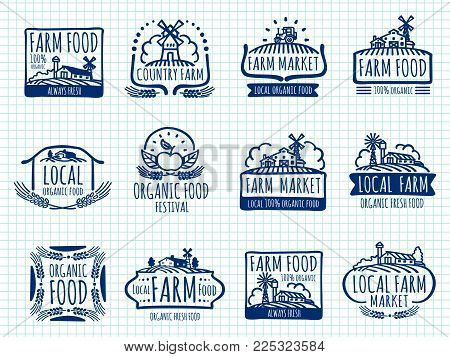 Ballpoint pen doodle farm and organic food vector labels on notebook page. Farm natural food label, healthy emblem market illustration