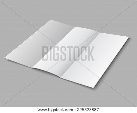 Blank paper folded leaflet. 3d white blank broadsheet vector template. Illustration of white blank booklet and brochure card