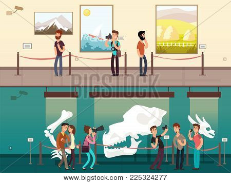Cartoon museum gallery exhibition with painting, science exhibits and people visitors vector illustration. Museum exhibition picture and exposition culture historical