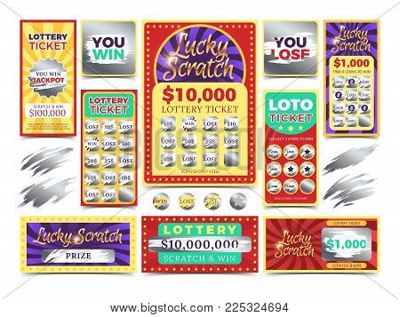 Winning scratching lottery vector tickets. Win ticket lottery, game prize card illustration