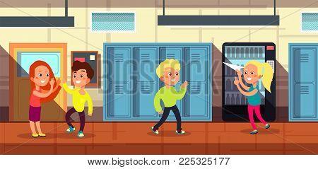 Schoolchildren in school corridor at classroom door cartoon vector illustration. Hallway and school corridor with students
