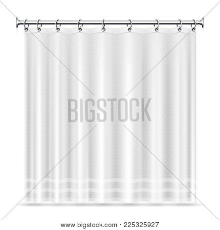 Realistic shower curtains vector template for bathroom interior. Curtain for bathroom and shower interior illustration