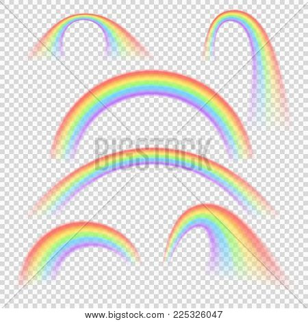 Summer realistic rainbow arches isolated vector set. Rainbow arch colored spectrum illustration