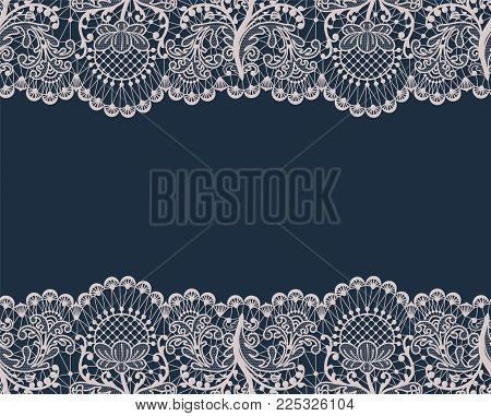 Horizontally seamless dark blue lace background with lace borders