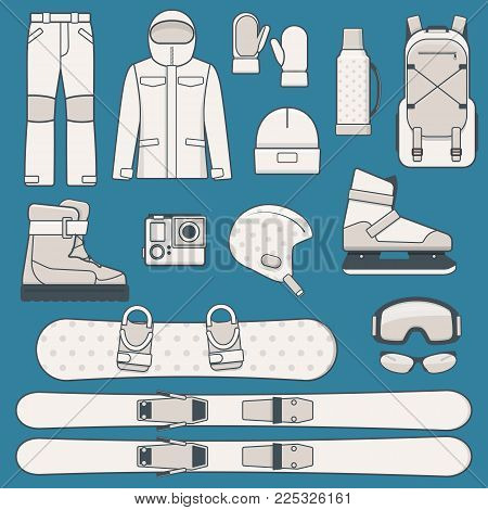Elements Of Winter Sports And Activities. Winter Sports Equipment Icon Set. Vector Illustration In L