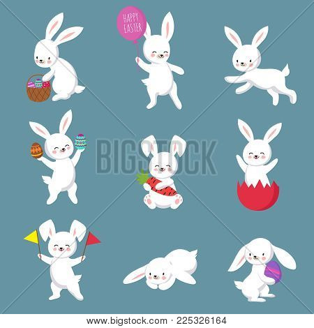 Easter cute happy bunny rabbit vector characters set. Easter bunny or rabbit, cute cartoon spring character illustration