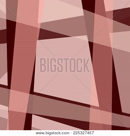 Geometric background with frame of maroon, bordo strips and four cornered text box. Abstract template for wallpapers, covers, layouts, presentations, scrapbooking, wrapping paper. Vector EPS 10