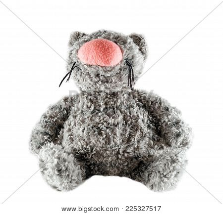 Funny Toy Gray Cat Isolated On White Background. Fluffy Toy Cat With Big Pink Nose Close Up