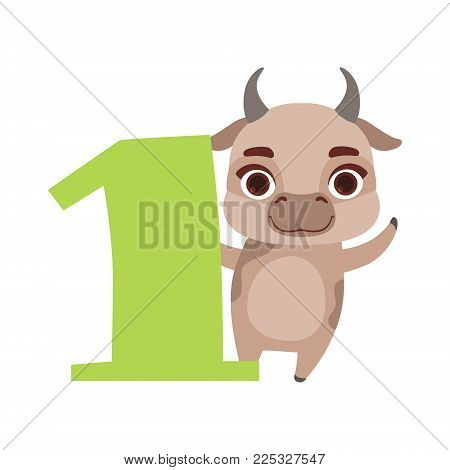 Funny cute cow animal and number one, birthday anniversary, learn to count concept cartoon vector Illustration on a white background