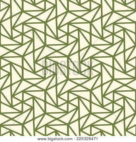 Seamless geometric triangle pattern with green lines, many simple repeatable shapes on the white background vector illustration