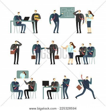 Working people vector cartoon characters. Employees women and men in office, coworkers for business concept. Job man character, teamwork business illustration