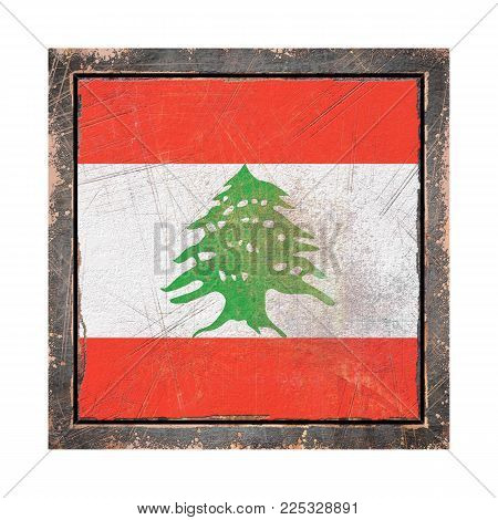 3d Rendering Of A Lebanon Flag Over A Rusty Metallic Plate Wit A Rusty Frame. Isolated On White Back