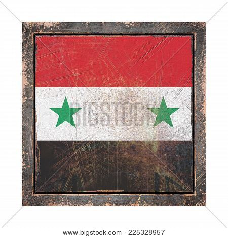 3d Rendering Of A Syria Flag Over A Rusty Metallic Plate Wit A Rusty Frame. Isolated On White Backgr