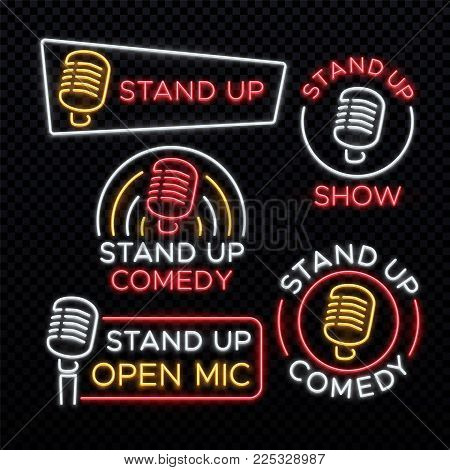 Stand Up comedy bright neon vector signs. Comedy stand up emblem, label for signboard comedian club illustration