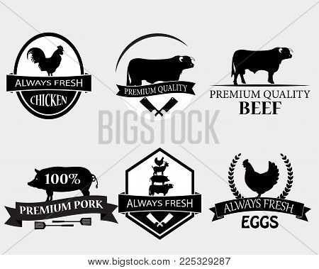 Set of butchery logo templates. Butchery labels with sample text. Butchery design elements and farm animals silhouettes for groceries, meat stores.