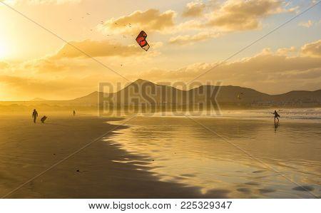 Famara Beach At Sunset, Lanzarote, Canary Islands, Spain