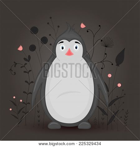Gift postcard with cartoon animal penguin. Decorative floral background with branches and plants. Postcard with cartoon characters. The layout of the square cards
