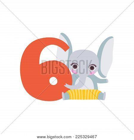 Funny cute elephant animal and number six, birthday anniversary, learn to count concept cartoon vector Illustration on a white background