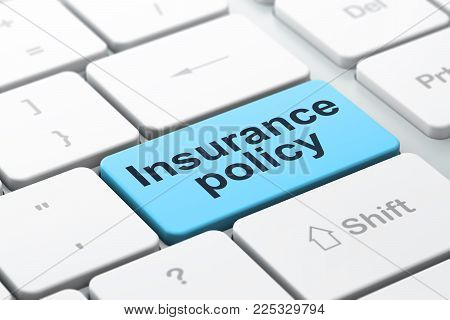 Insurance concept: computer keyboard with word Insurance Policy, selected focus on enter button background, 3D rendering