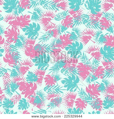 Abstract Seamless Tropical Pattern For Girl And Boy. Creative Vector Tropical Pattern, Colorful Wall