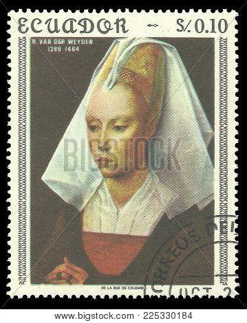 Ecuador - circa 1967: Stamp printed by Ecuador, Color edition on Art, shows Painting Young Woman by Rogier van der Weyden, circa 1967