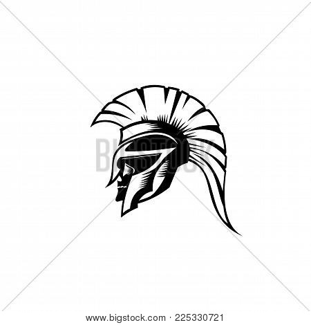 An illustration of Spartan roman greek helmat on white background vector.