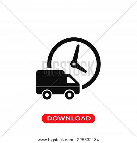Logistics delivery truck and clock icon vector in modern flat style for web, graphic and mobile design. Logistics delivery truck and clock icon vector isolated on white background. Logistics delivery truck and clock icon vector illustration, editable stro